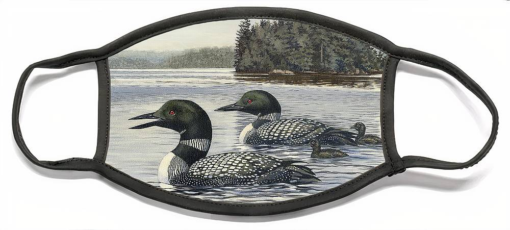 Common Loon Face Mask featuring the painting Family Outing by Richard De Wolfe