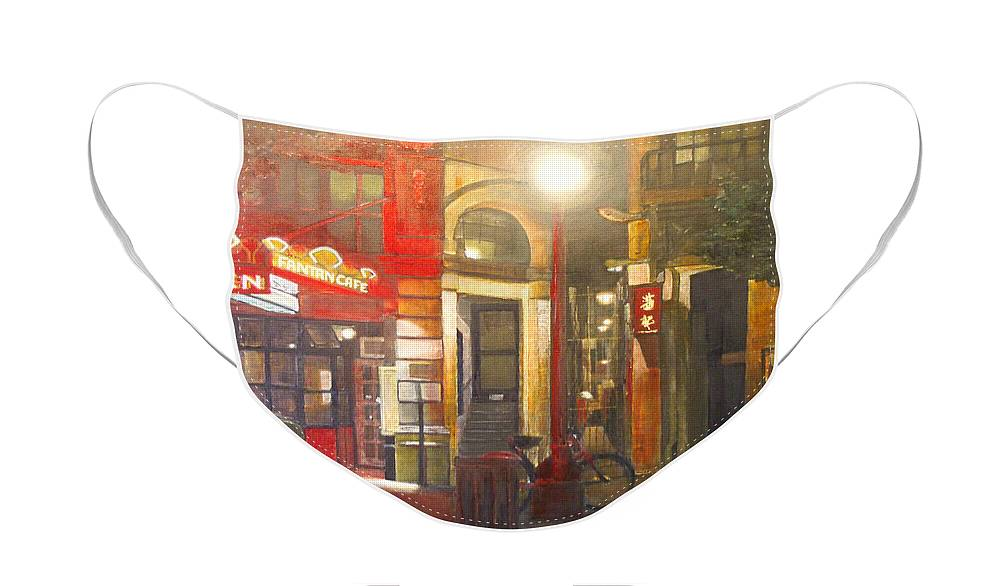Chinatown Face Mask featuring the painting Fan Tan Alley by Victoria Heryet