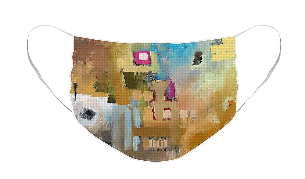 Original Face Mask featuring the painting Fantasy 79b by Linda Monfort
