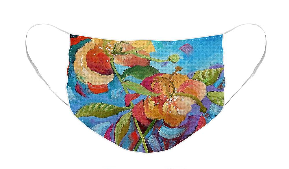 Original Face Mask featuring the painting Fantasy Garden by Linda Monfort