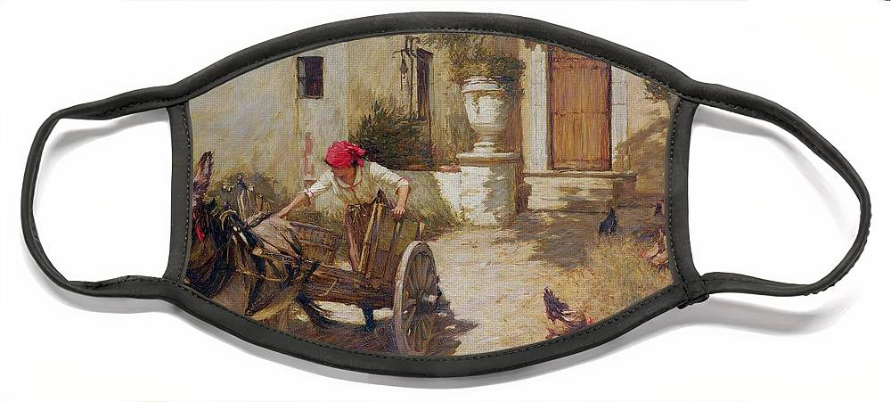 Farm Face Mask featuring the painting Farm Yard Scene by Henry Herbert La Thangue