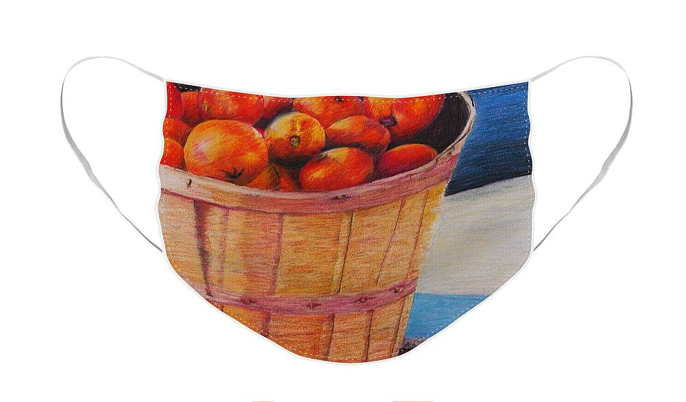 Produce In A Basket Face Mask featuring the drawing Farmers Market Produce by Nadine Rippelmeyer