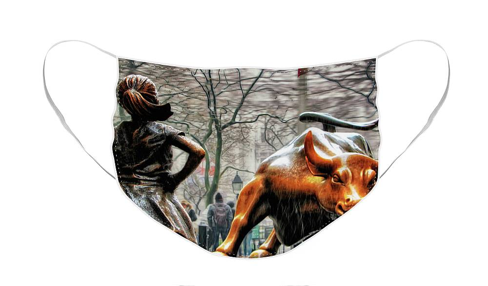 Fearless Girl Statue Face Mask featuring the photograph Fearless Girl and Wall Street Bull Statues by Nishanth Gopinathan