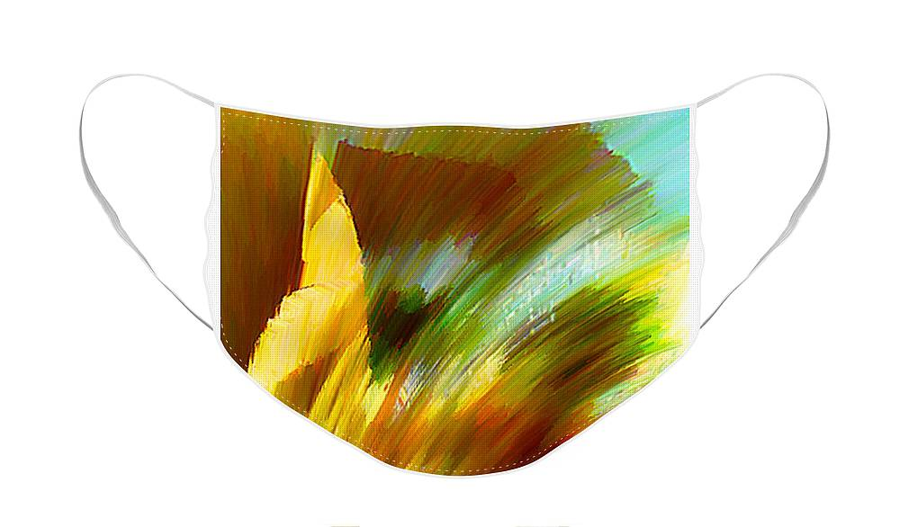 Landscape Digital Art Watercolor Water Color Mixed Media Face Mask featuring the digital art Feather by Anil Nene
