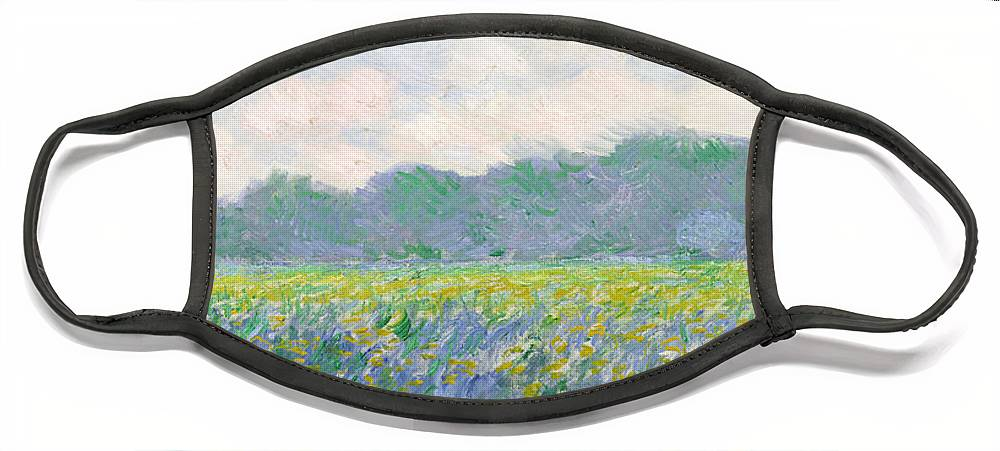 Field Face Mask featuring the painting Field of Yellow Irises at Giverny by Claude Monet