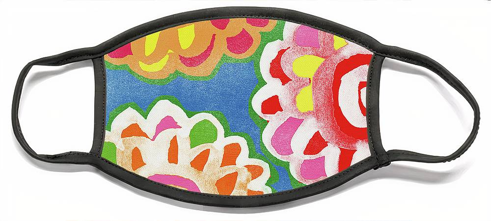 Flowers Face Mask featuring the mixed media Fiesta Floral 3- Art by Linda Woods by Linda Woods