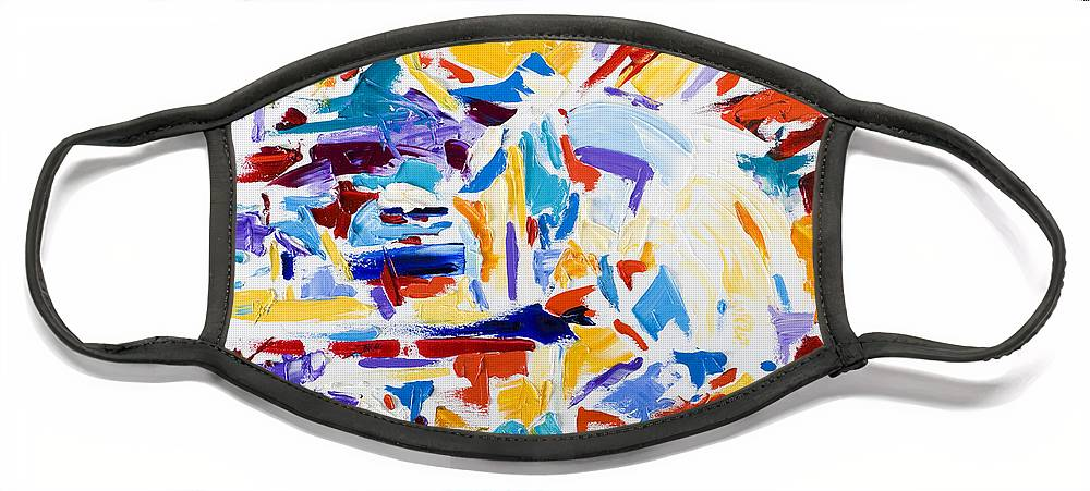 Abstract Yellow Face Mask featuring the painting Fiesta by Shannon Grissom