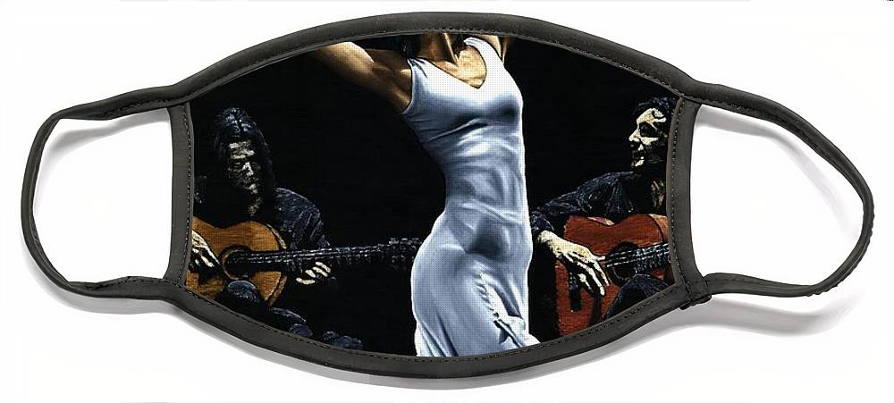 Flamenco Face Mask featuring the painting Finale del Funcionamiento del Flamenco by Richard Young