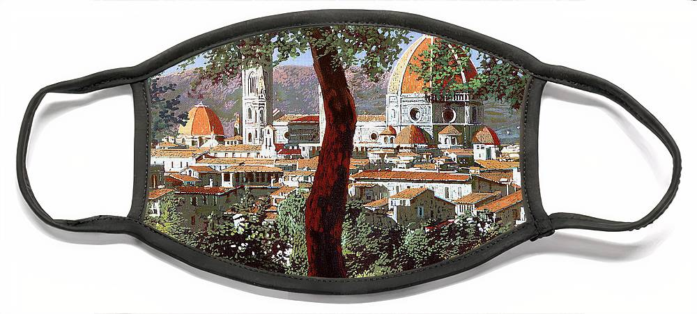 Landscape Face Mask featuring the painting Firenze by Guido Borelli
