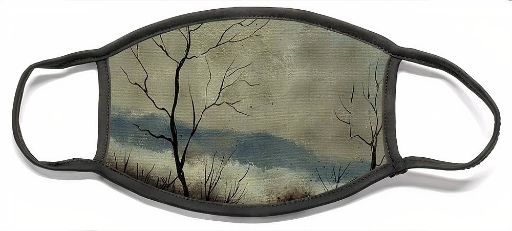 Landscape Face Mask featuring the painting First snow in Harroy by Pol Ledent