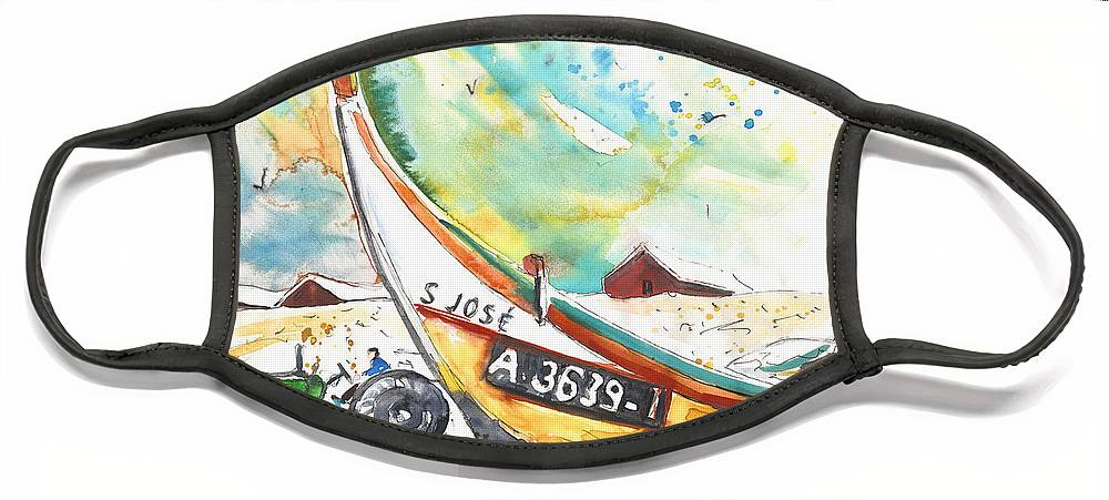 Portugal Face Mask featuring the painting Fisherboat in Praia de Mira by Miki De Goodaboom