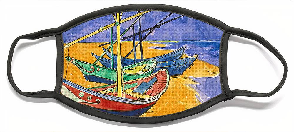 Vincent Van Gogh Face Mask featuring the painting Fishing Boats on the Beach at Saintes Maries de la Mer by Vincent Van Gogh