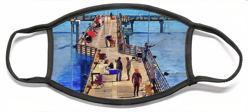 Cedric Hampton Face Mask featuring the photograph Fishing Off Galveston Pier by Cedric Hampton