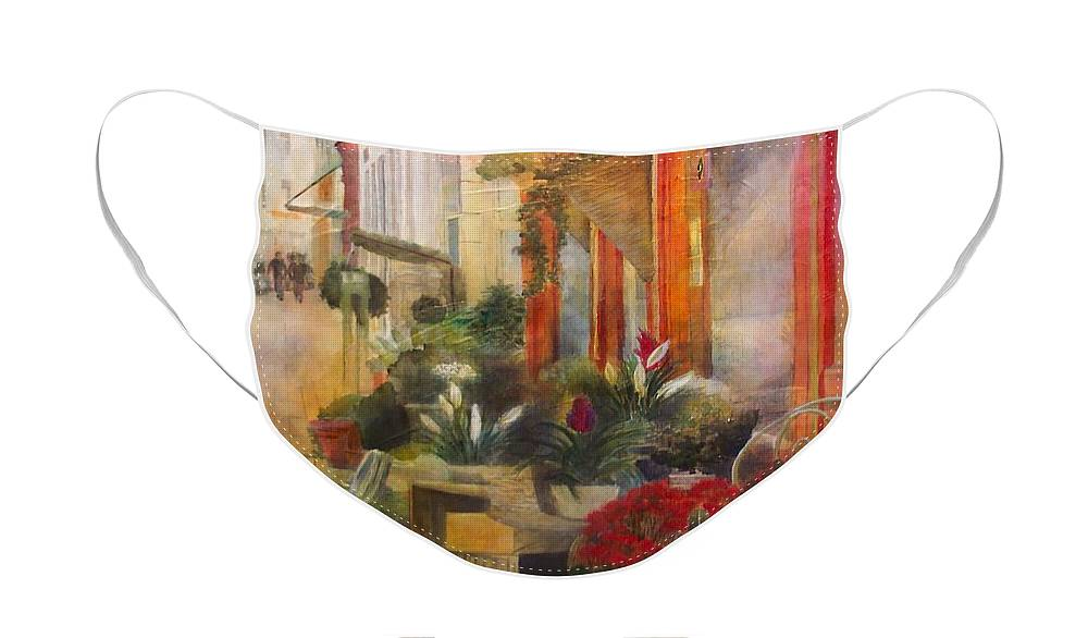 Flowers Face Mask featuring the painting Fleuriste by Victoria Heryet