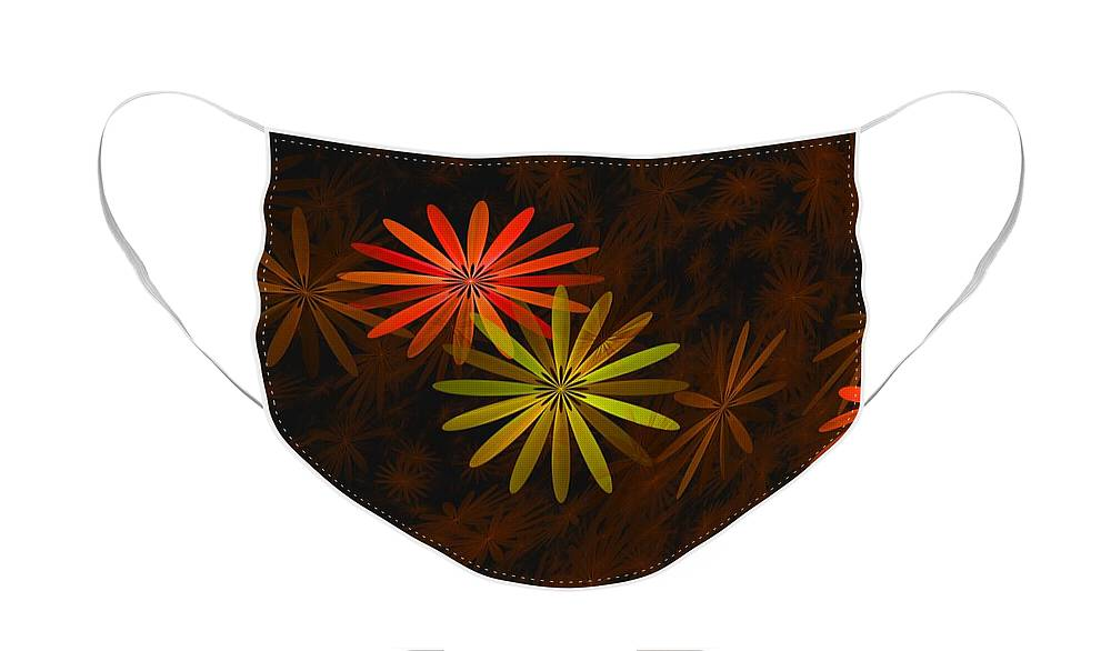 Digital Photography Face Mask featuring the digital art Floating Floral-008 by David Lane