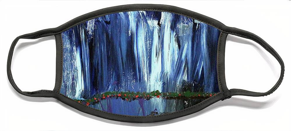Blue Face Mask featuring the painting Floating Gardens by Pam Roth O'Mara