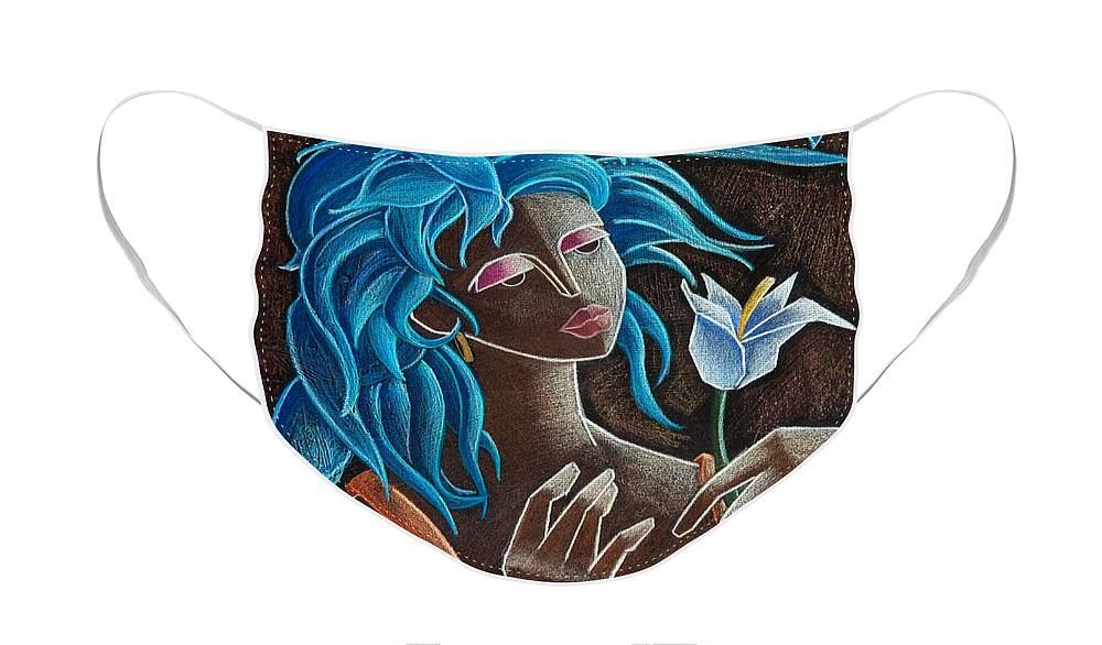 Puerto Rico Face Mask featuring the painting Flor y viento by Oscar Ortiz