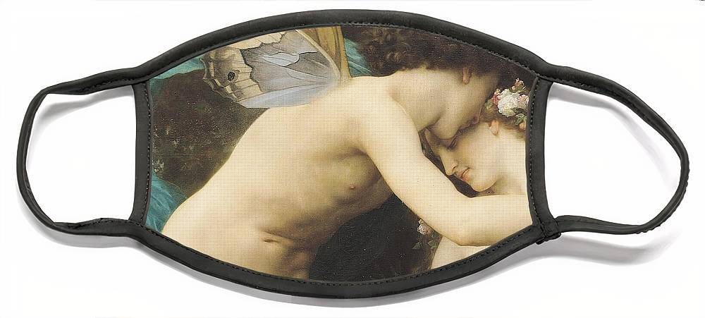 Flora And Zephyr Face Mask featuring the painting Flora and Zephyr by William Adolphe Bouguereau