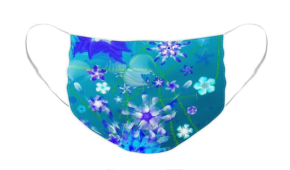 Floral Face Mask featuring the digital art Floral fantasy 121910 by David Lane