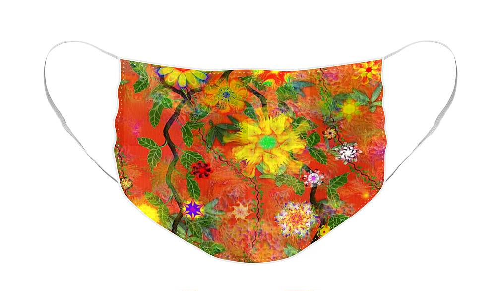 Floral Face Mask featuring the digital art Floral Fantasy 122110 by David Lane