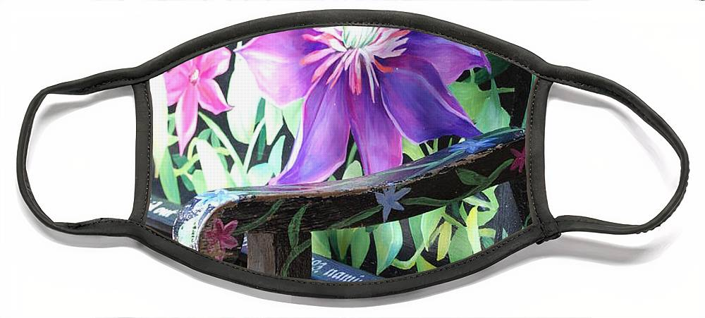 Macro Face Mask featuring the photograph Flower Bench by Rob Hans