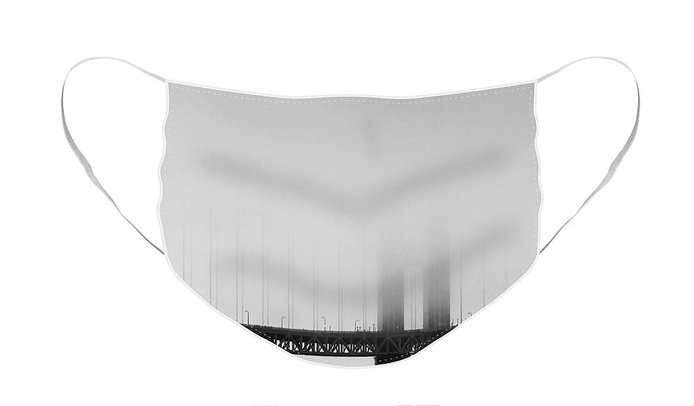 Black And White Face Mask featuring the photograph Fog at the Golden Gate Bridge 4 - Black and White by Wingsdomain Art and Photography