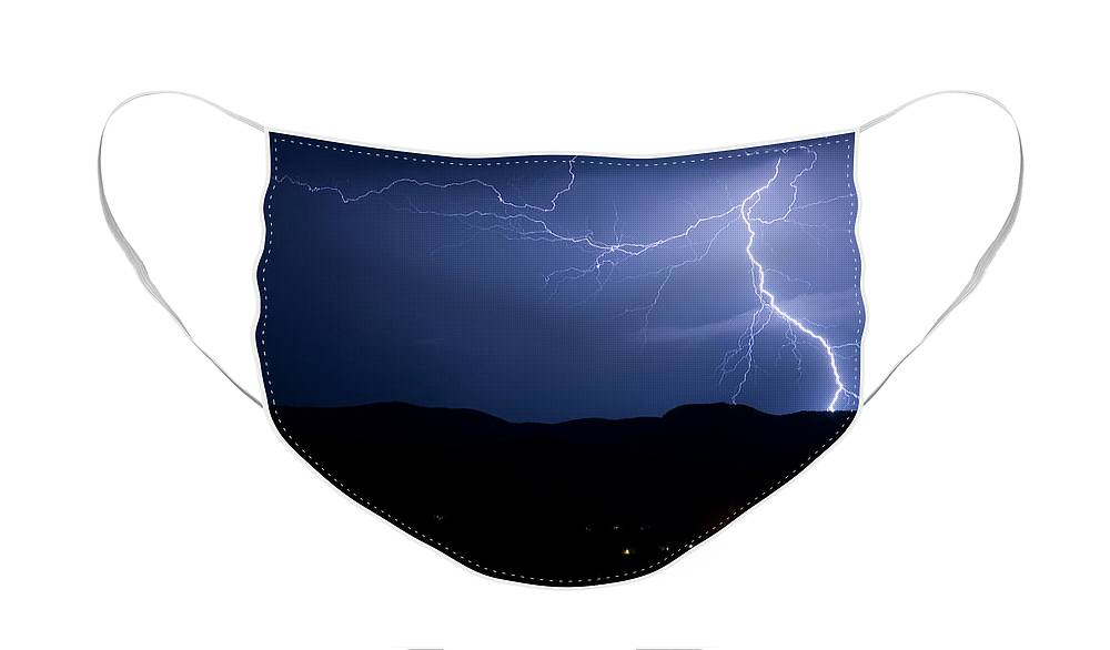 Lightning Face Mask featuring the photograph Foothills Lake Lightning Extreme Weather Storm by James BO Insogna