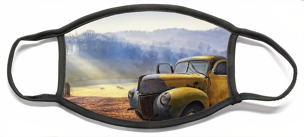 Appalachia Face Mask featuring the photograph Ford in the Fog by Debra and Dave Vanderlaan