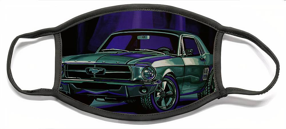 Ford Mustang Face Mask featuring the painting Ford Mustang 1967 Painting by Paul Meijering