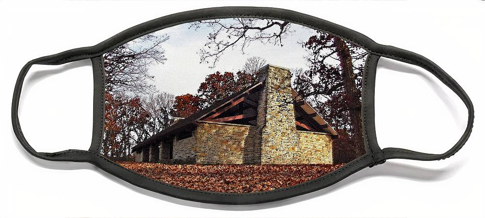 Cedric Hampton Face Mask featuring the photograph Forest Field House 3 by Cedric Hampton