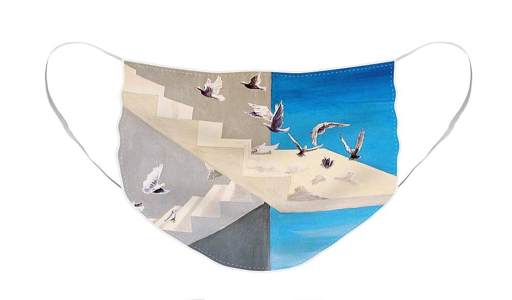 Birds Face Mask featuring the painting Form Without Function by Steve Karol