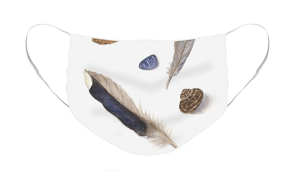 Feathers Face Mask featuring the painting Found Treasures by Lucy Arnold