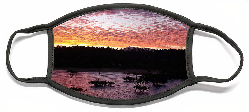 Landscape Face Mask featuring the photograph Four Elements Sunset Sequence 3 Coconuts Qld by Kerryn Madsen - Pietsch