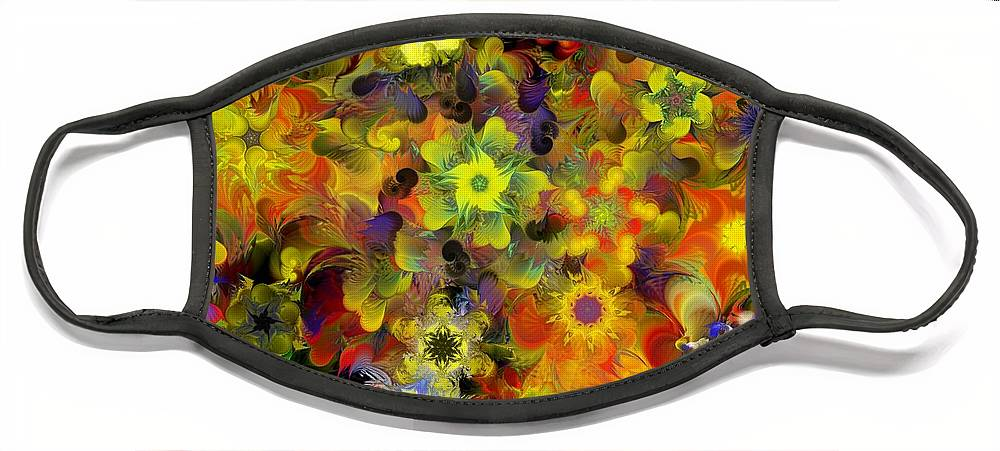 Digital Painting Face Mask featuring the digital art Fractal Floral Study 10-27-09 by David Lane