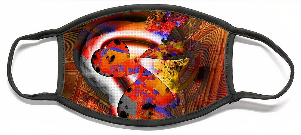 Heart Face Mask featuring the digital art Fractal Heart by Ron Bissett
