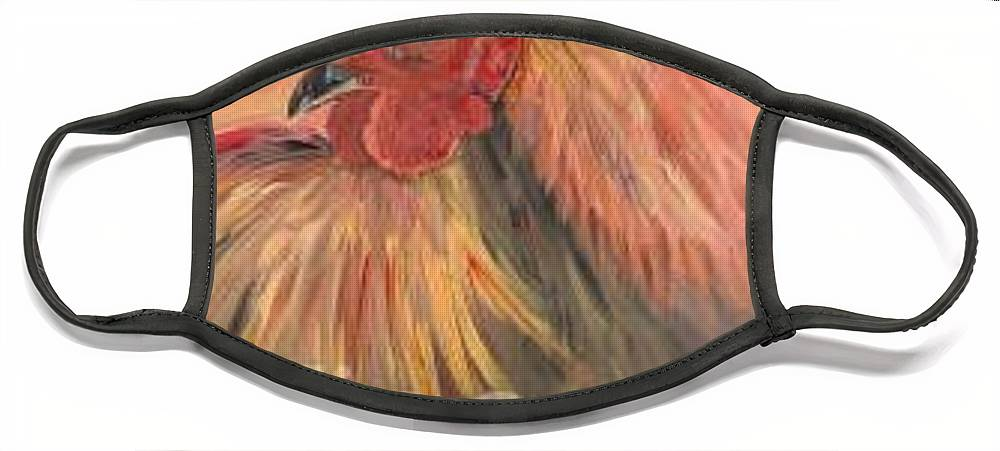 Rooster Face Mask featuring the painting French Country Rooster by Nadine Rippelmeyer