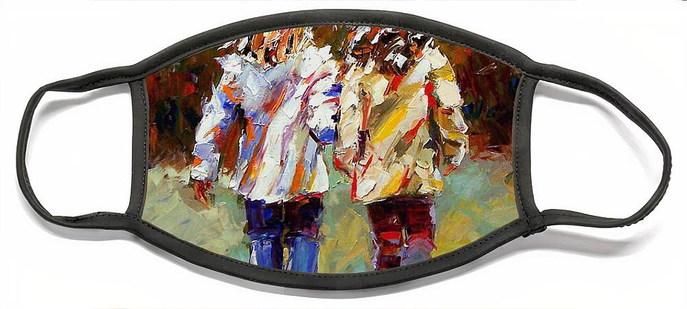 Girls Face Mask featuring the painting Friends Forever by Debra Hurd