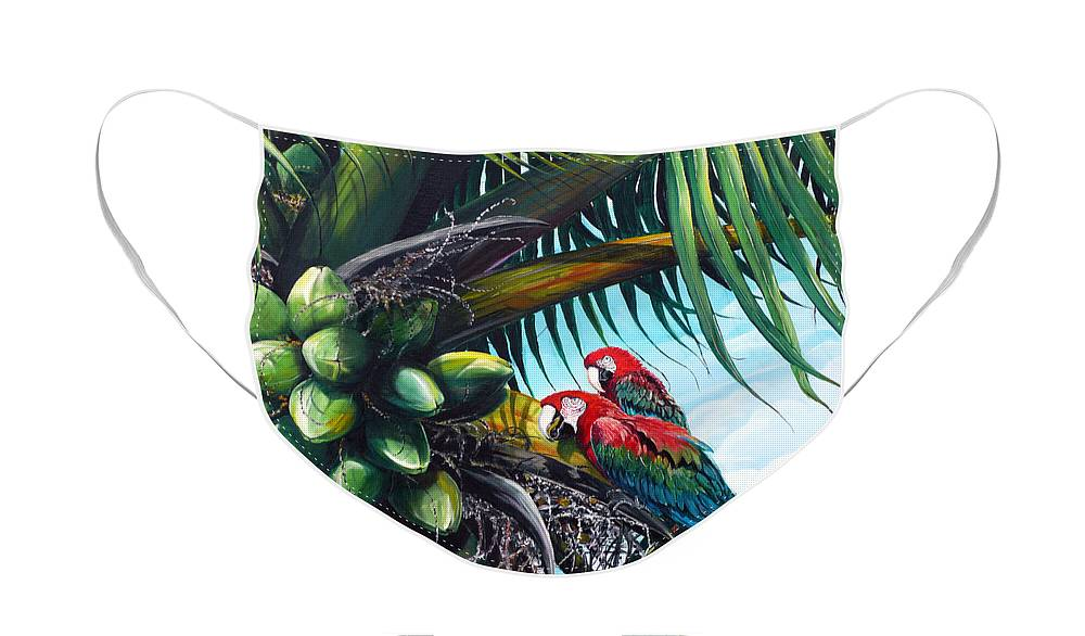 Macaws Bird Painting Coconut Palm Tree Painting Parrots Caribbean Painting Tropical Painting Coconuts Painting Palm Tree Greeting Card Painting Face Mask featuring the painting Friends Of A Feather by Karin Dawn Kelshall- Best