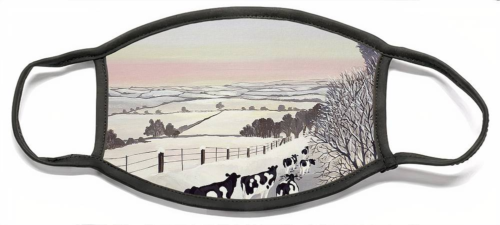 Fence Face Mask featuring the painting Friesians in Winter by Maggie Rowe
