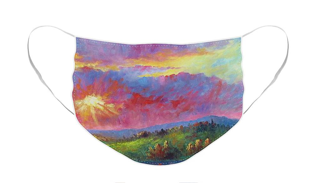 Landscape Face Mask featuring the painting Front Range Sunset by David G Paul