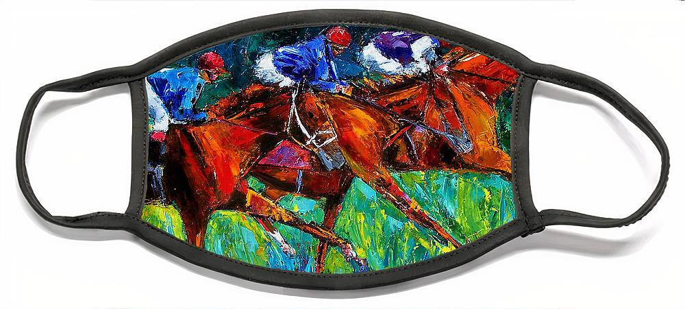 Horse Race Face Mask featuring the painting Full Speed by Debra Hurd