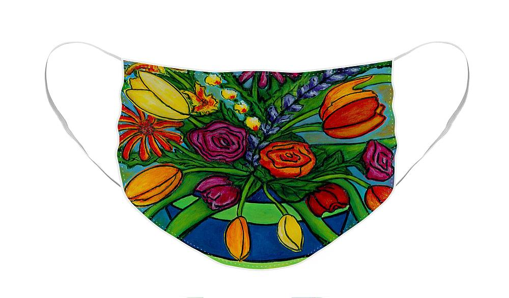 Flowers Face Mask featuring the painting Funky Town Bouquet by Lisa Lorenz