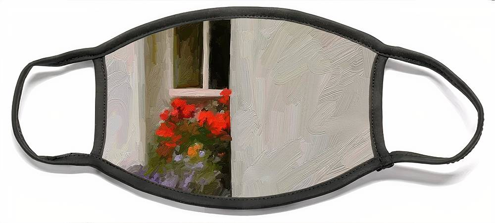 Art Painting Landscape Face Mask featuring the digital art Galway Window by Scott Waters