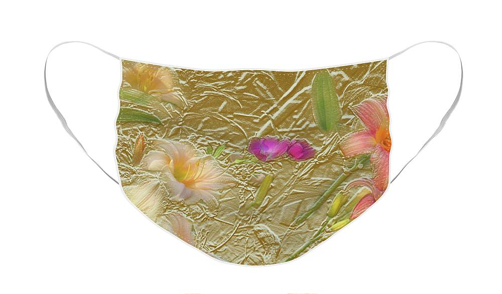 Garden Face Mask featuring the mixed media Garden in Gold Leaf2 by Steve Karol