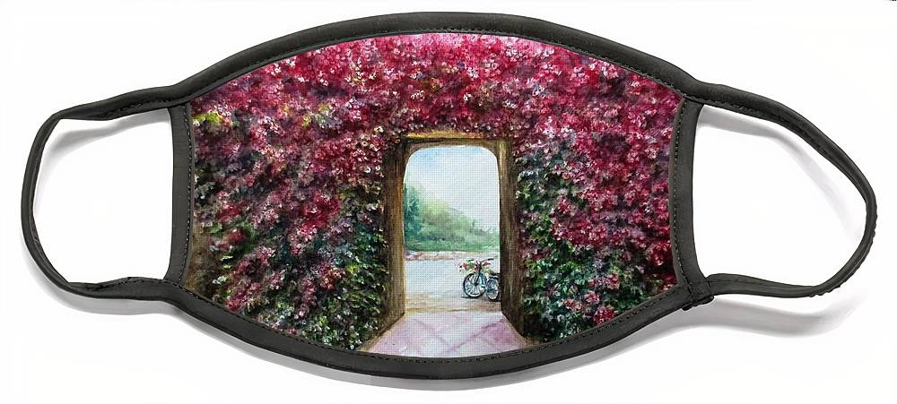 Bike Face Mask featuring the painting Garden Rose by Natalja Picugina