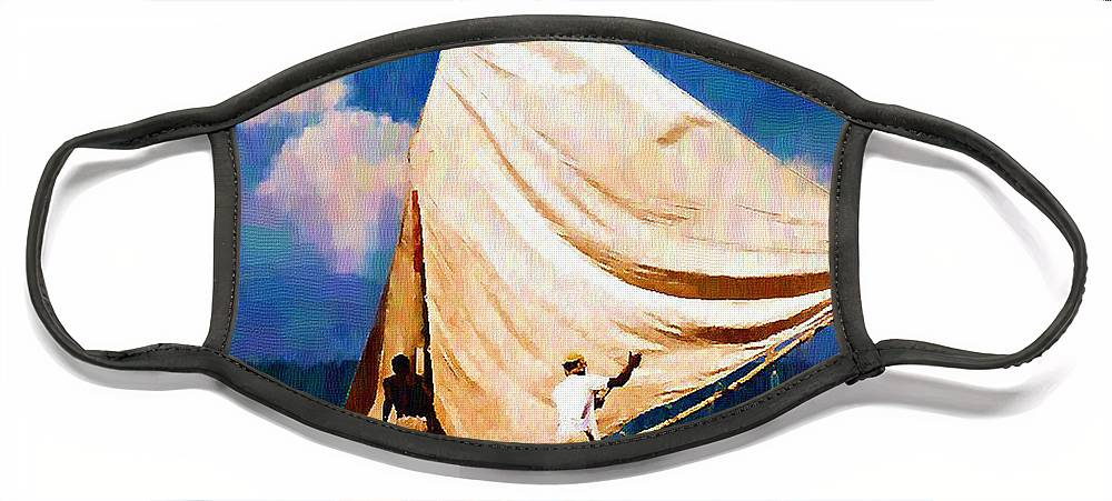 Diane Berry Face Mask featuring the painting Gentle Winds by Diane E Berry