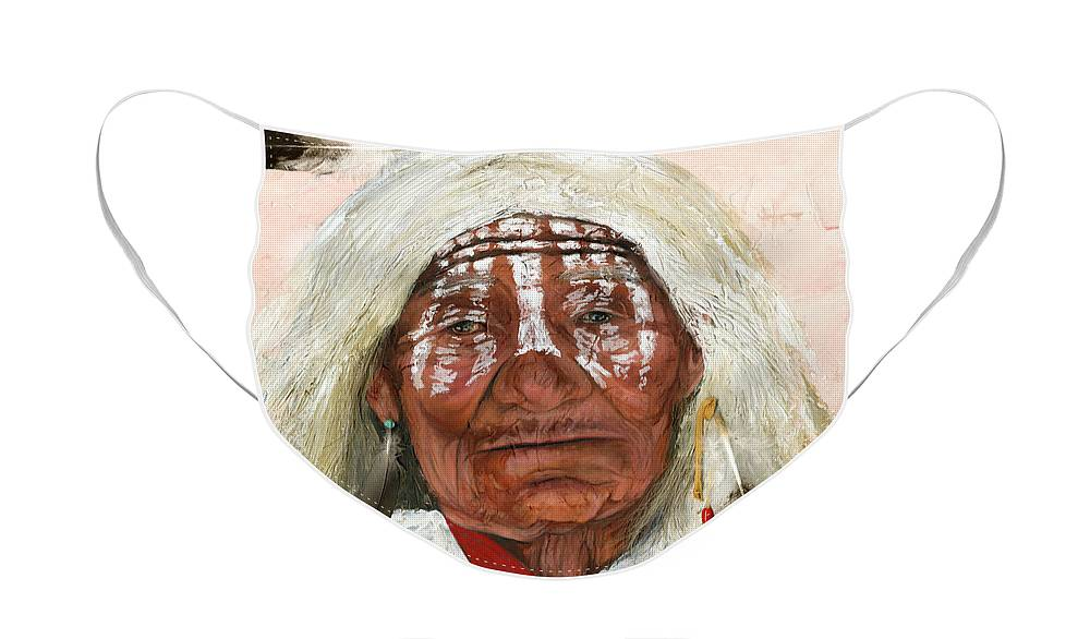 Southwest Art Face Mask featuring the painting Ghost Shaman by J W Baker