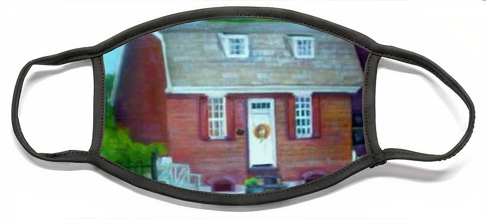 Revell House Face Mask featuring the painting Gingerbread House by Sheila Mashaw