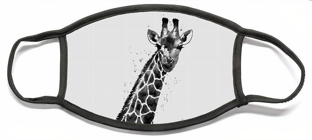 Giraffe Face Mask featuring the painting Giraffe in Black and White by Hailey E Herrera