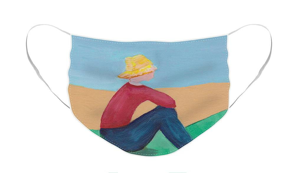 Minimalist Face Mask featuring the painting Girl with Straw Hat by Patricia Cleasby